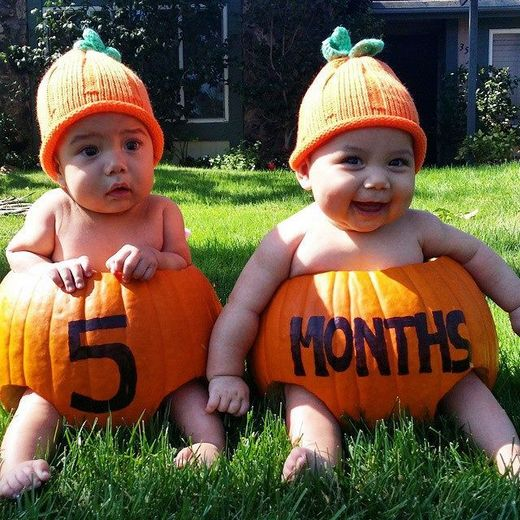 Cute Babies in Pumpkins