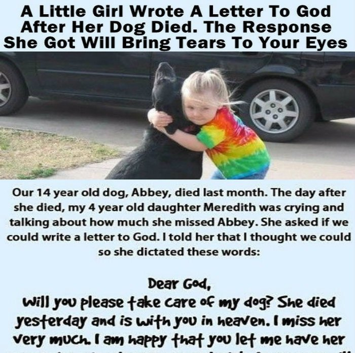 A Little Girl Wrote A Letter To God After Her Dog Died