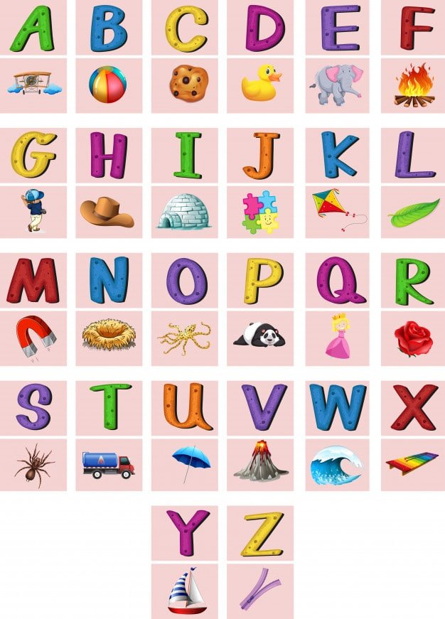 a to z alphabet with picture